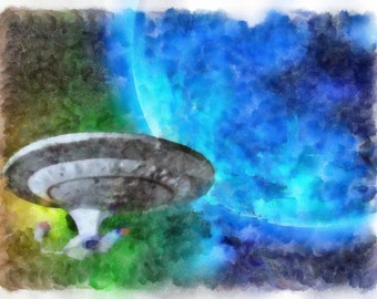 USS Enterprise from Star Trek in Watercolor (Instant Download)