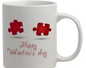 Personalized Heart puzzle pieces perfect fit Valentines day ideas Personalized Coffee Mugs Valentines Gift for her or Him