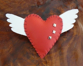 Wings of Love - Tattoo Inspired hand stitched Leather Brooch