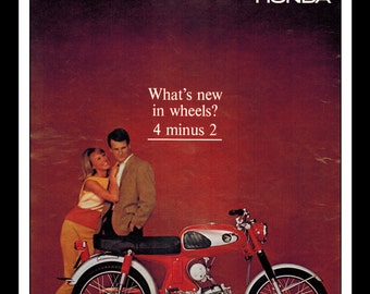 """Vintage Print Ad August 1965 : Honda Motorcycle """"What's New In Wheels? 4 minus 2"""" Wall Art Decor 8.5"""" x 11"""" Print Advertisement"""