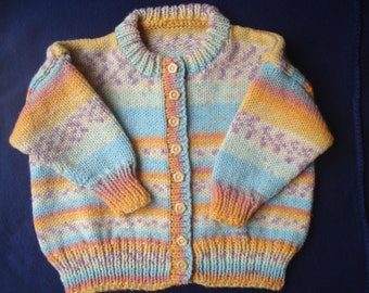 Multi Coloured cardigan with Flower Buttons