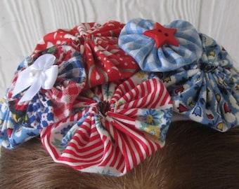 Patriotic Headband , Red White and Blue , Yoyo Headband , Polka Dots , Patriotic Colors , Stars , eclectiKIDS