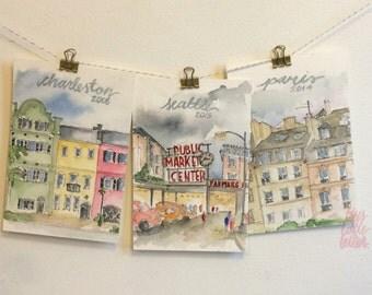 Custom Milestone Location Watercolor Paintings - Set of Three