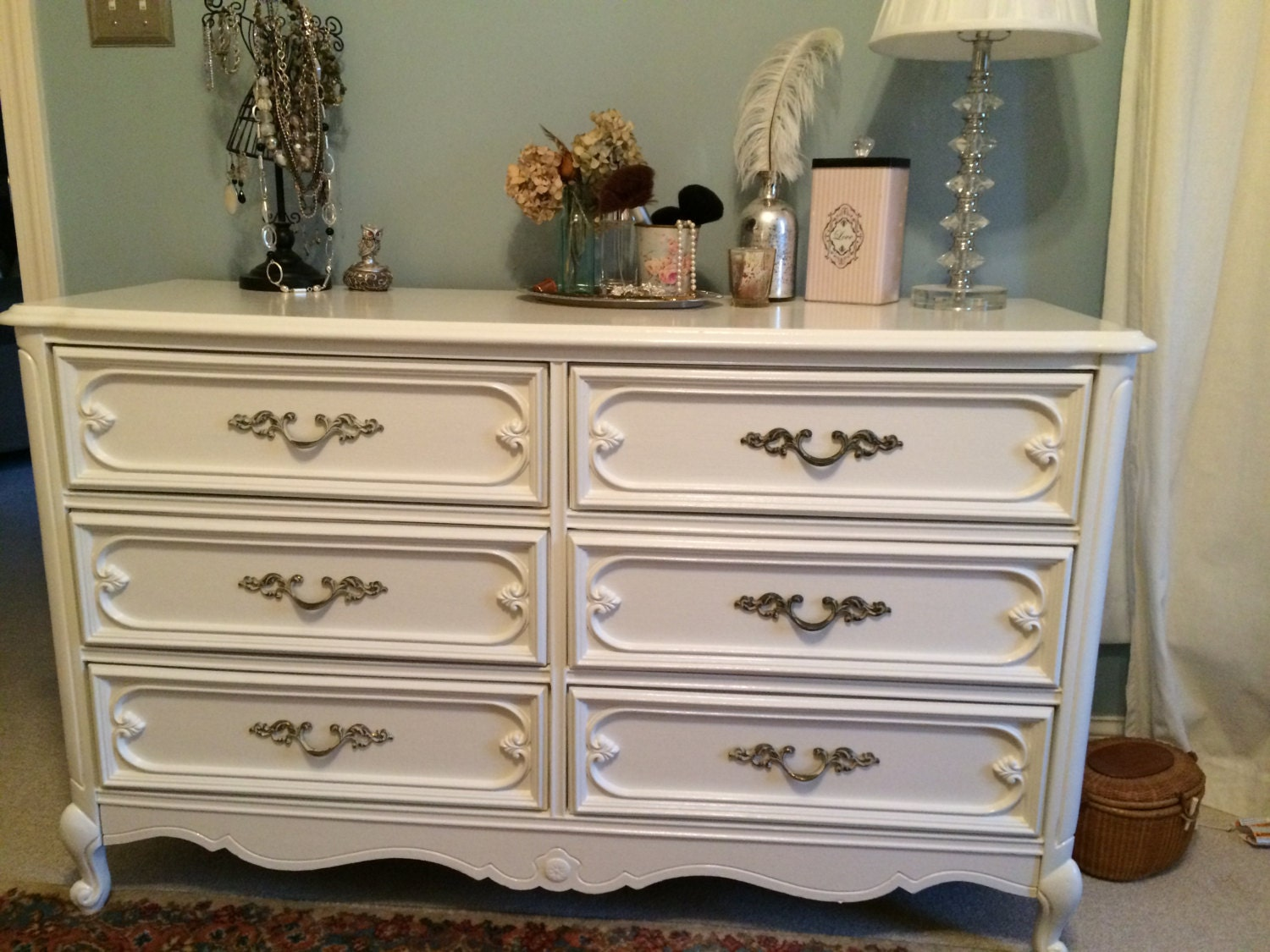 French Provincial Antique Dresser White Basset By VintageRagCo