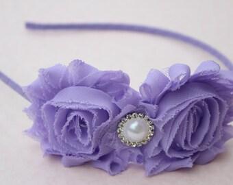 Lavender Flower girl headband toddler lavender wedding headband metal satin purple headband toddler girls hard headband flower girl outfit