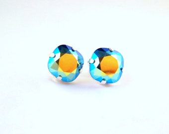 Swarovski Crystal Jet AB stud post earrings minimallist metallic multi colored