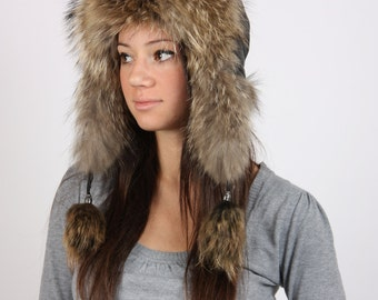 Ladies raccoon hat