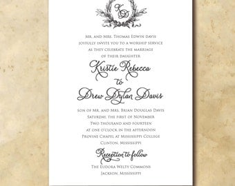 Beautiful Wedding Invitation with wreath detail and monogram / digital file / wording and colors can be changed