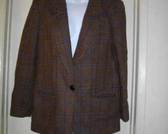 Giorgio Sant Angelo Plaid Jacket Single Breasted One Button Blazer