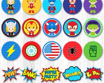 Superhero Cupcake Topper, Super hero cupcake topper, Superhero Cupcake Wrapper, Spiderman Cupcake Topper