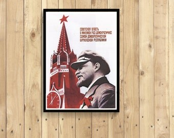 CCCP Poster - Soviet Propangada Art print poster Lenin democracy Vintage Old illustration CCCP USSR Russian Reproductiont