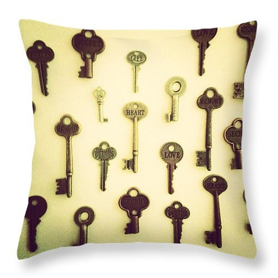 Keyes Decorative Pillow : Keys Throw Pillow by Artist MP