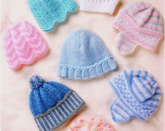 Knit Hats Mittens and Booties Set Vintage Pattern baby