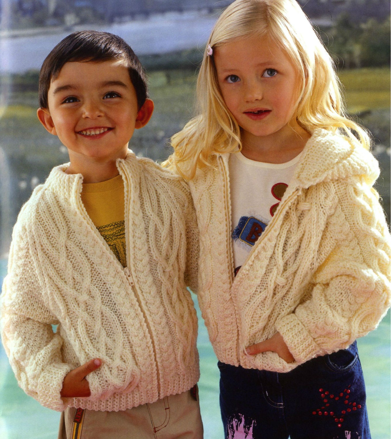 Childrens Hood Knitting Pattern : Vintage Knitting Pattern Childrens Zipped Hooded Jacket Hood