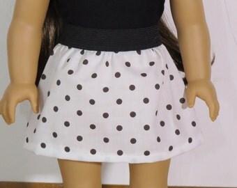 """Black and White Polka Dot Skirt for 18"""" Inch Doll like American Girl"""