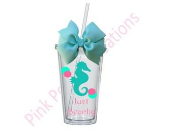Seahorse Tumbler, Beach Tumbler, Personalized Tumbler, Beach Cup