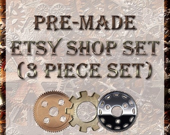 Steampunk gears Shop Kit 3 Piece Graphic Template Set | Pre-made Banner and Avatar Package | Clean Simple Victorian Bronze Cream Chrome |