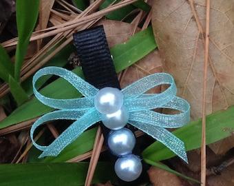 White Pearl clip. Organza clip. Ribbon clip. Pretty clip.
