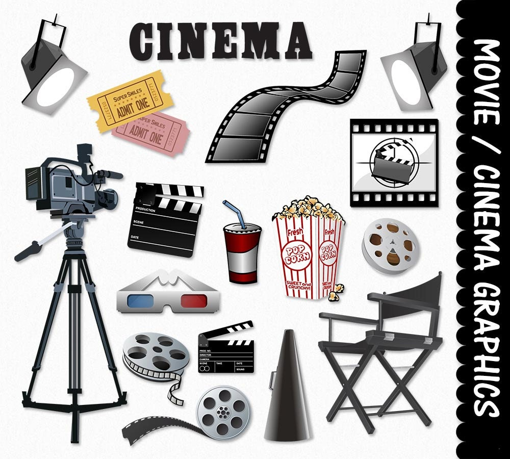 Cinema clipart  Movie Equipment Clip Art Clipart Graphic Scrapbook Cinema