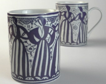 "Mug decorated with medieval design ""Dancing ladies"""