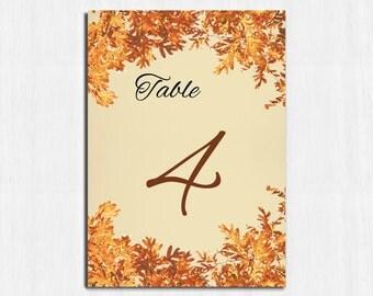 Table Numbers, Autumn wedding, Mason jar, autumn table numbers, Printable table cards, wedding, Digital file, wedding table number, rustic