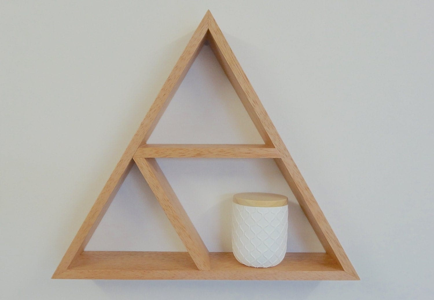 Triangle wooden shelf geometric shelf by woodbedesignsbymoo - Triangular bookshelf ...