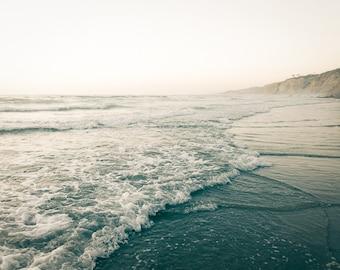 Teal Ocean Art, Twilight, Beach Photo, Beach Landscape, Fine Art Photography, Gray, Shoreline, Beach Seascape, Neutral Home Decor, Wall Art