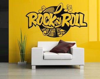 Wall Vinyl Sticker Decals Mural Room Design Pattern Music Melody Rock And Roll bo333