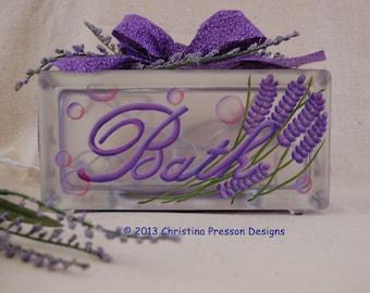 Painting E Pattern Glass Block Bath Lavender Bathroom Light Purple Bubbles  Nightlight