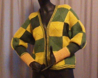 hand made knitted green and gold sweater