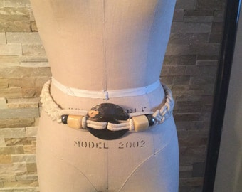 1980's knot belt with beads and metal detailing