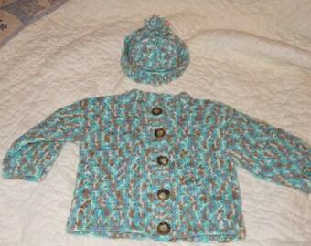 Hand crochet, baby boy sweater & hat.  Size 6-9 months.