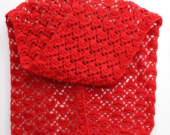 Big soft and cozy red scarfe with hearts. An exellent gift for the St.Valentine Day!!!