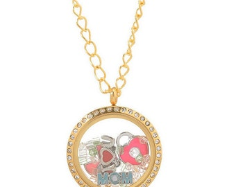 Floating Charm Necklace Stainless Steel Gold Color