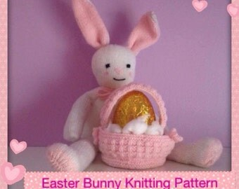 Easter Bunny knitting pattern with basket for easter egg