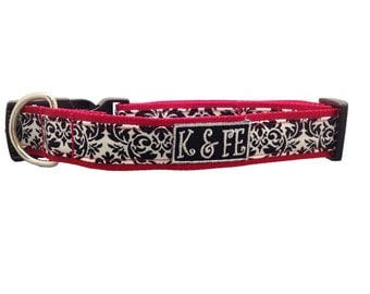French Damask Buckle Dog Collar in Black & White