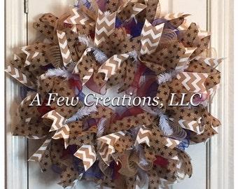 FREE SHIPPING!!! Burlap & Deco Mesh Patriotic Wreath