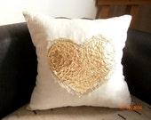 Heart Pillow CoverGold Pillow Case  Linen Pillow Case Lame Heart Pillow Decorative Pillow Heart Cushion Cover Heart Throw Pillow Pillow-16''