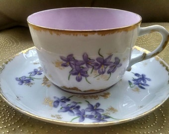 Limoges- teacup and saucer. 1891-1900. Hand painted. Mark of Gerard Dufraisseix and Morel. France. CFH/GDM.