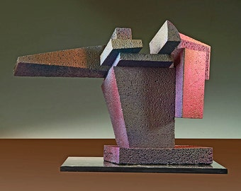 ABSTRACT SCULPTURE, architectural geometric desktop tabletop art, cast aluminum maquette, modern contemporary home office decor - Formidable