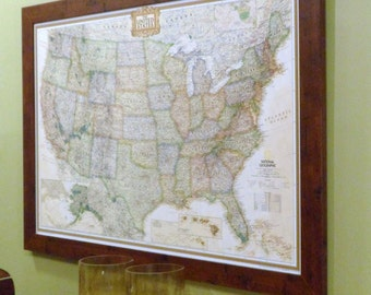 Framed US Earth-toned  Push Pin Travel Map