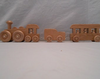 Wooden Train with six cars