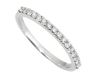 0.25ct Traditional Bridal 14K White Gold Wedding Band with Diamonds
