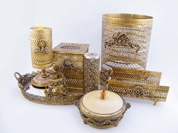 Ornate Gold Vanity Set Hollywood Regency By Vintagejunkaddict