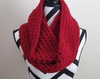 Crocheted Ruby Red Infinity Scarf