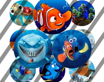 INSTANT DOWNLOAD -Finding Nemo - Bottlecap Images Digital Collage Sheet - One Inch - 4x6 Bottle Caps