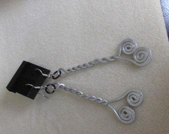 Aluminium hammered spiral earrings