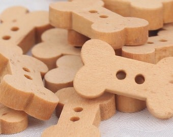 Wooden Bone Shaped Button 18mm - 10 pack