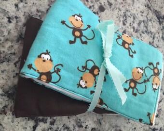 Monkey Cloth Diaper Burp Cloth