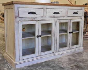 Media Console Entertainment Center TV Stand Cabinet Reclaimed Wood Vintage